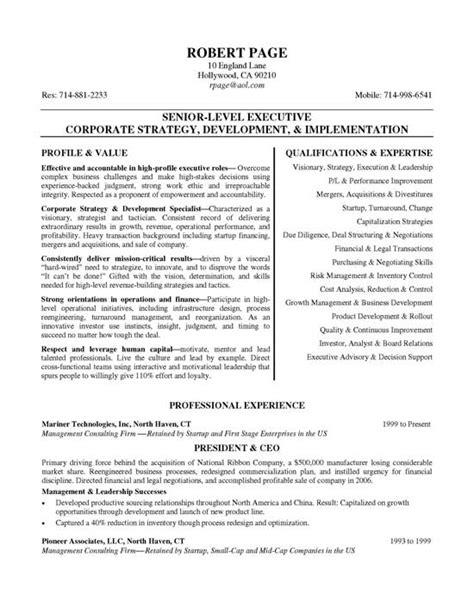 ceo resume exle resume exles and executive resume