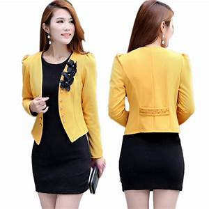 Fashion Office Women Lady Flower Short Coat Jacket Tops ...