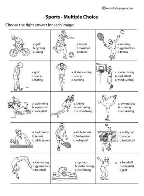 sport worksheets for choice b w worksheet sports printable worksheet pdf version