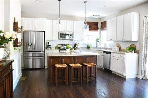 white cabinets dark kitchen island   home