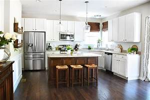 White Cabinets, Dark Kitchen Island - How to Nest for Less™