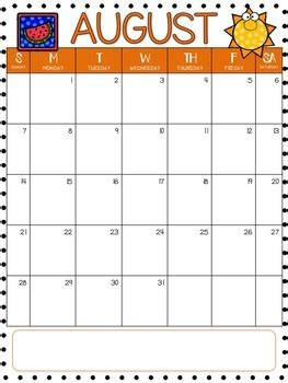 editable monthly calendars    english