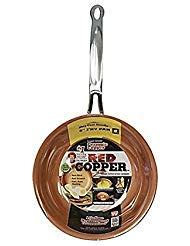 red copper   pan  bulbhead ceramic copper infused  stick fry pan skillet scratch