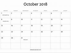 Editable Calendar October 2018 Monthly Calendar 2018
