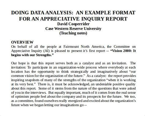 data analysis report template  documents  word
