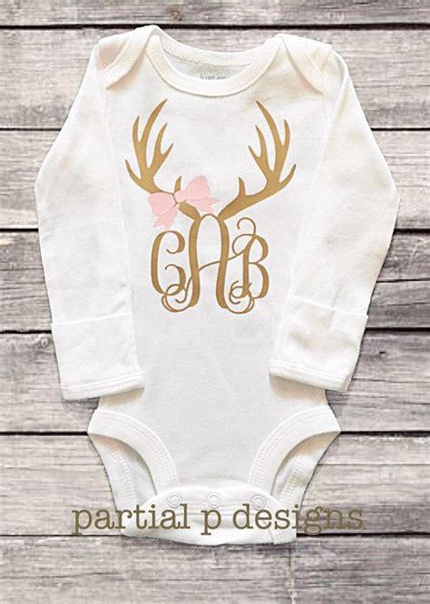 monogram deer antler onesie bodysuit hunting hunting buddy baby girl personalized gold
