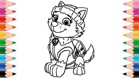 How To Draw Paw Patrol Everest For Kids Happy Family