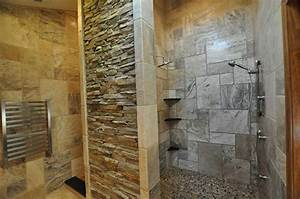 Concrete bathroom ideas with marble wall design and filled