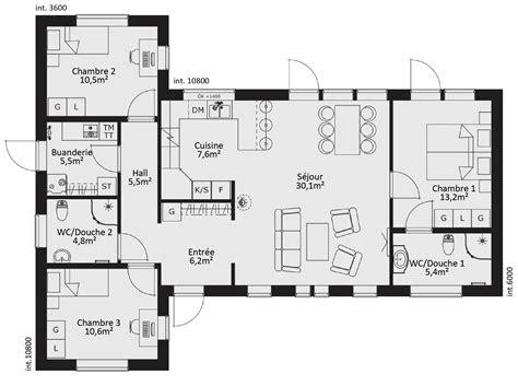 plan maison 3 chambres cuisine magnifiquement plan maison en bois plan maison en
