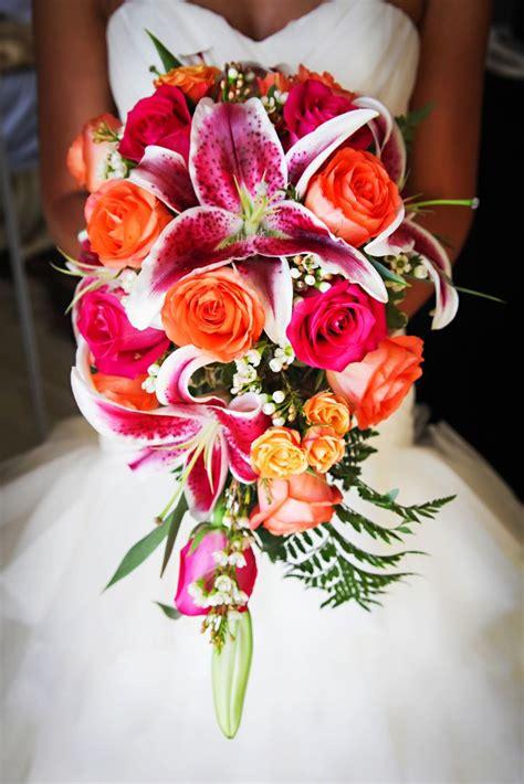 stargazer lily  hot pink rose bouquet limelight