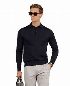 Cashmere Silk Blend Navy Long Sleeve Slim Fit Polo T M Lewin