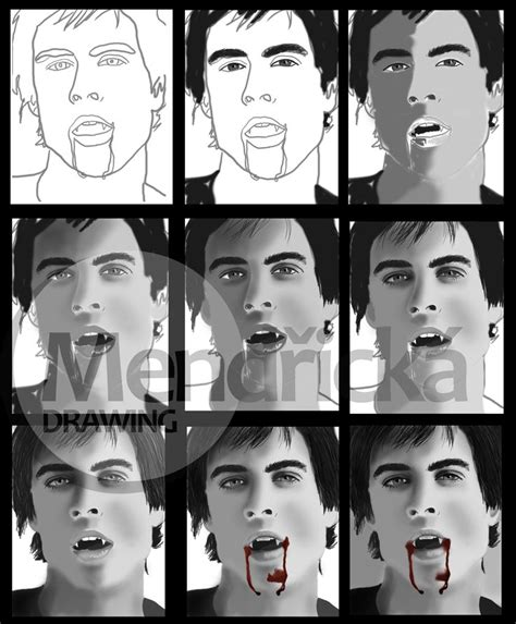 You will then draw a slightly arched vertical line to be used for his face, and neck. My tablet drawing - Damon Salvatore :) 5 amazing hours ...