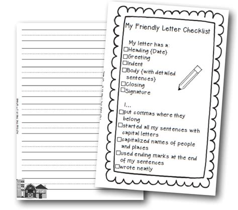 friendly letter writing rubric grade  printable