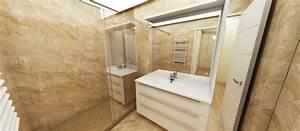 projet d39agencement d39un appartement art et interieurs With porte de douche coulissante avec beton cire mercadier dans salle de bain renovation carrelage