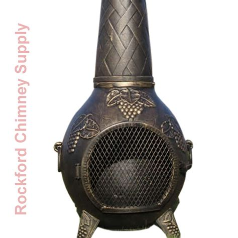chiminea blue rooster wood burning chiminea grape design outdoor fireplace by