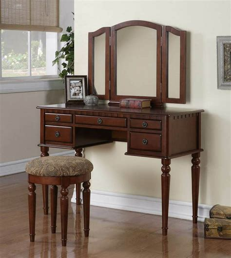 Vanity And Stool Sets by Wooden Make Up Tri Fold Mirror Vanity Set With Stool And 5