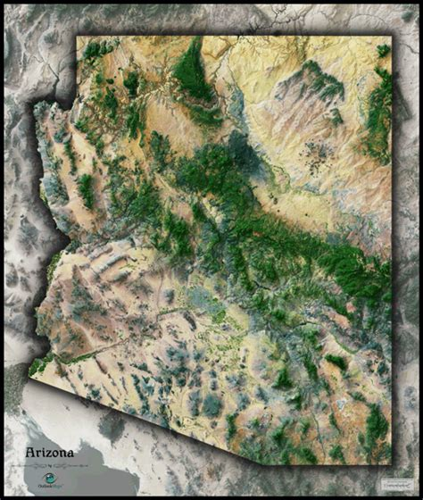 Arizona Satellite Wall Map By Outlook Maps