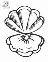 Coloring Shells Pages Shell Sea Mermaid Clip Clipart sketch template