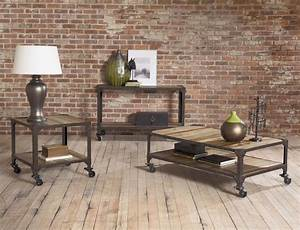 Industrial design finds from furniture to accessories for Industrial coffee table set