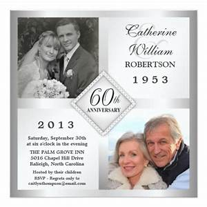 60th silver diamond anniversary photo invitations zazzle With 60th wedding anniversary invitations online