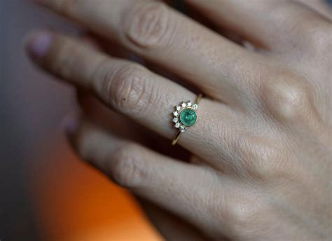 Emerald Engagement Ring Emerald Diamond Ring Diamond Emerald