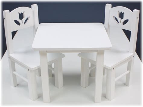 18 doll furniture table and chairs 18 quot doll furniture wood table chairs set 18 quot white