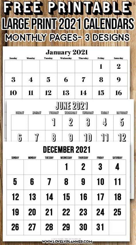 printable large print  calendar  month