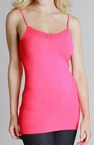 Lace V Neck Seamless Cami Neon Pink