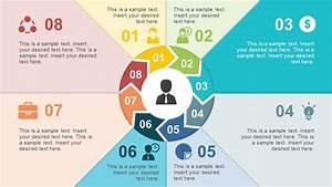 8 Steps Circular Chevron Paper Effect Powerpoint Template