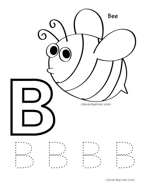 letter b writing and coloring sheets 176 | b is for bee coloring sheets for preschool children