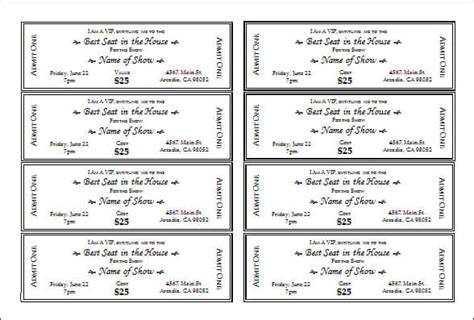 ticket templates  sample templates