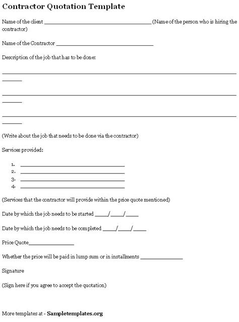 contract quotation template quotation template for contractor format of contractor
