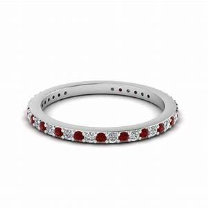 Thin diamond stackable eternity band with ruby in 14k for Ruby wedding band rings
