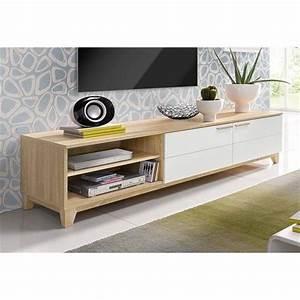 Meuble Style Scandinave : meuble tv style scandinave 2 portes abattantes 2 niches d cor ch ne brut blanc vue 1 ~ Teatrodelosmanantiales.com Idées de Décoration