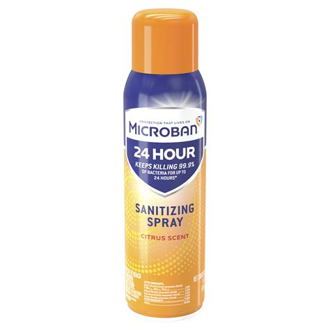 Microban 24 Hour Disinfectant Sanitizing Spray, Citrus, 15
