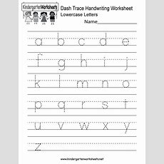 Kindergarten Dash Trace Handwriting Worksheet Printable  Handwriting Worksheets English