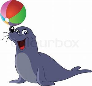Happy seal with a colored ball   Stock Vector   Colourbox