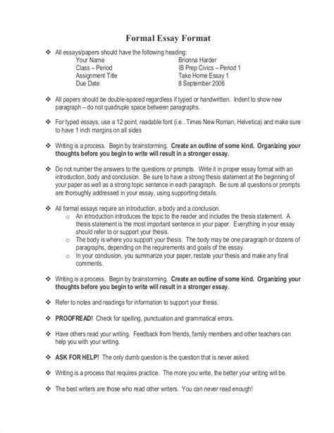 Essay Format by Free 9 Sles Of Formal Essays In Pdf Exles