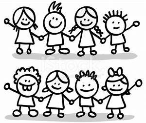 Lineart Happy Children Friends Group Holding Hands Cartoon ...