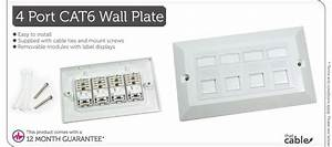 Quad Cat6 Data Wall Outlet Face Plate
