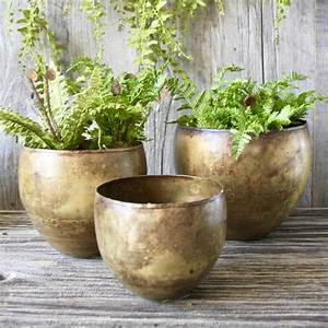 Set, Of, Three, Brass, Planters, By, London, Garden, Trading
