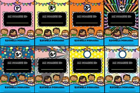 caratulas segun las asignaturas gafetes o portadas coloridas y llamativas educaci 243 n primaria