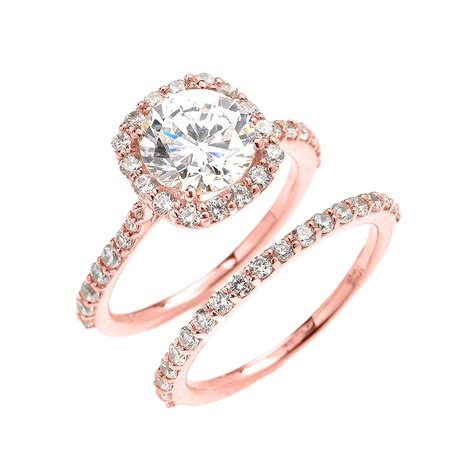beautiful dainty rose gold 3 carat halo solitaire cz engagement wedding ring