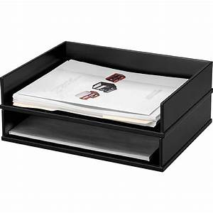 victor midnight black letter desk tray madill the With wooden letter trays stackable