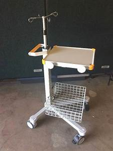 Adjustable Mobility Rolling Four Hook I V  Pole With Utility Tray And Wire Basket