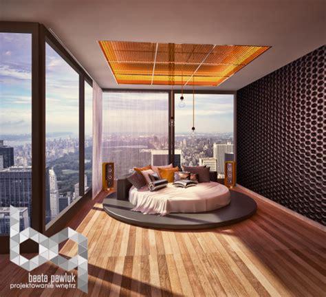 chambre a coucher avec lit rond idée chambre adulte aménagement et décoration design