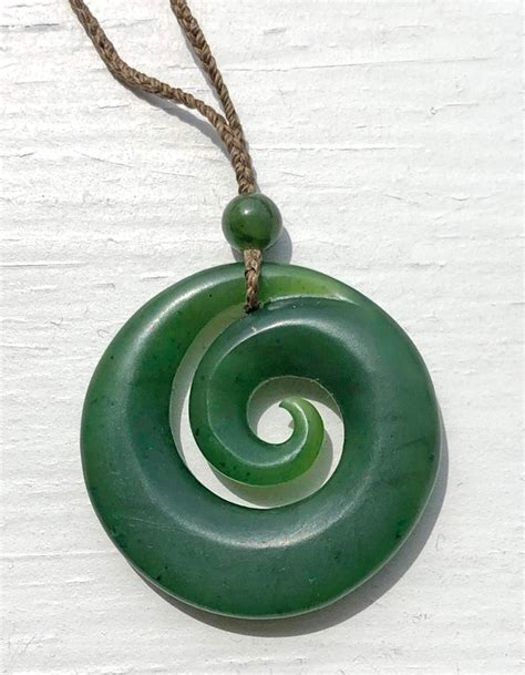 Maori-Style Koru Spiral Genuine Natural Nephrite Jade Pendant