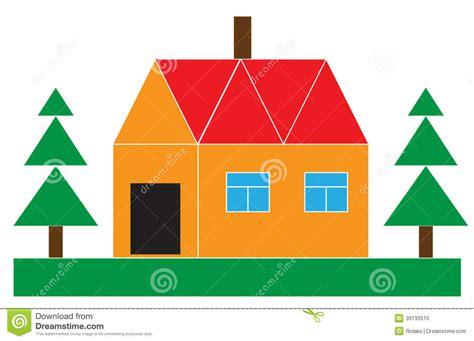 Small House With The Firs Stock Vector. Image Of Housing