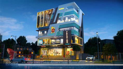 commercial building design shopping mall design multiplex  rendering  power