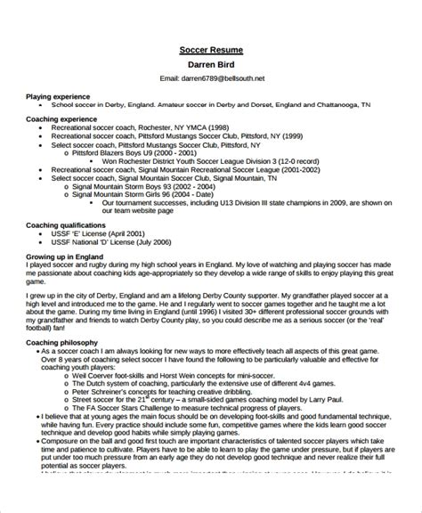 Soccer Resume Template by Coach Resume Template 8 Free Word Pdf Document